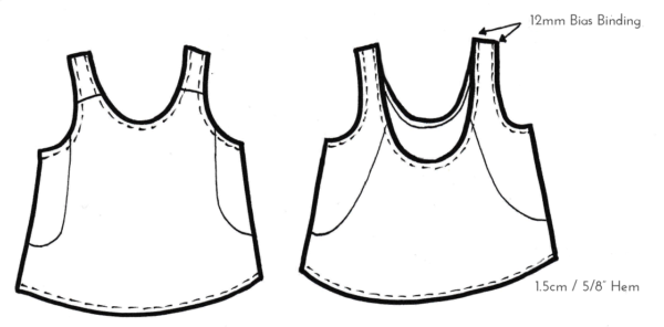 Technical sketch of Marigold Top