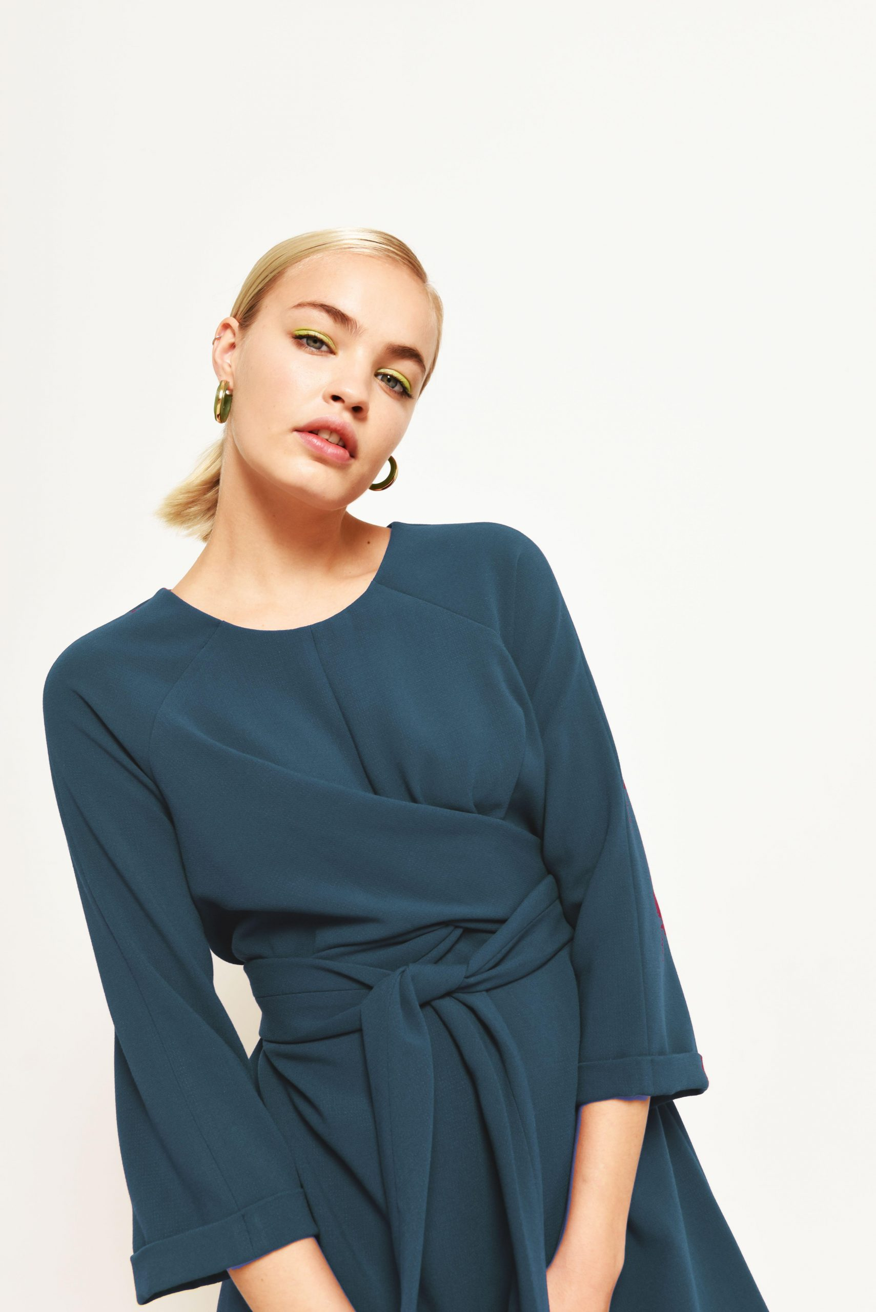 wrap dress in teal